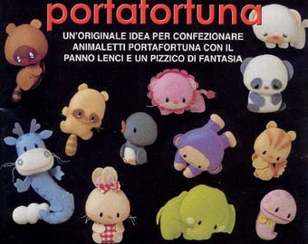 "SEWING FELT TOYS Pattern-""Cucciolotti Portafortuna""-Italian Craft E-Book #376.Felt Cats-Elephant-Horse-Zebra-Bear-Piggi-Monkey."