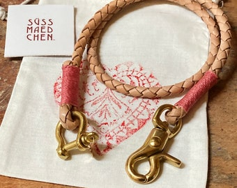 japanese style lanyard ladies wallet chain braided leather raspberry leather LANYARD bound by hand colorful biker