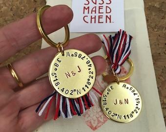 COORDINATES hand stamped keychain * wanderlust outdoor explore traveller * birth of child * wedding gift * GPS dates * Heimat