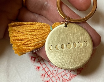 MOON PHASES - stamped by hand in brass pendant with tassel * sun moon lunation cycle sky astro luna esotericism