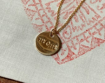 MOM pendant hand stamped with filigree necklace * 12k gold filled NOT coated * Special gift for your mother