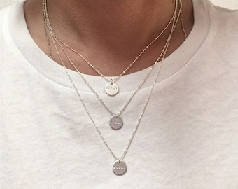 YOUR personalized necklace - initials,  date,  symbol, name or word pendant on a filigree silver chain *