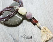 Pink tassel necklace. Lon...