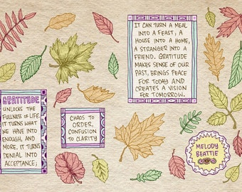 Melody Beattie Gratitude quote art print - recycled paper