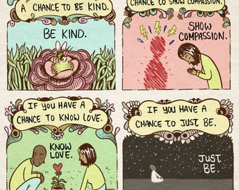 Compassion comic art print - recycled paper