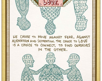 bell hooks Quote Love Print - recycled paper