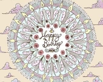 Happy Birthday Mandala Card