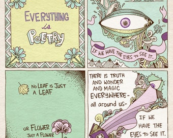 Poetry art print - recycled paper