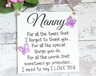 Gifts For Nanny Sign Birthday Gift Grandmother Grandma Nan Mother Day Her