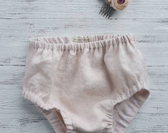 Baby bloomers, alt pink linen bloomers, diaper cover, ready to ship