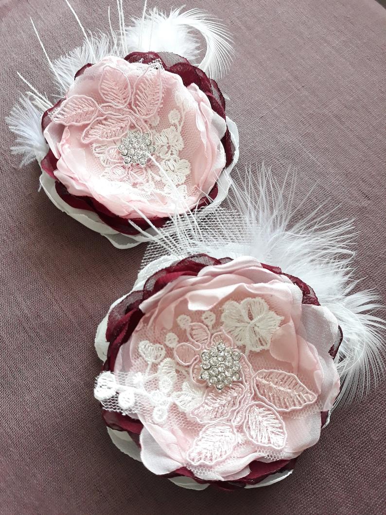 DIDI pair ivory burgundy pink chiffon tulle lace Bridal flowers beaded diamant\u00e9 rhinestones hair fascinator grips slides comb hair clip