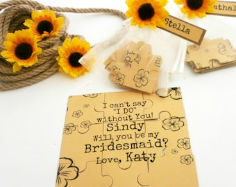 Flower Girl Proposal Card Will You Be My Bridesmaid Invitation Puzzle Card Maid of Honor Flower girl invitation