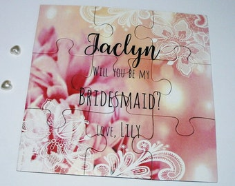 Be my Bridesmaid Proposal Card Will you be my Bridesmaid Invitation Puzzle Proposal Card Flower Girl, Maid of Honor Invite