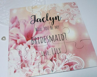 Will you be my Bridesmaid proposal, Bridesmaid Gift, Will you be my Maid of Honor Proposal card, Flower girl, Puzzle invitation, Custom name