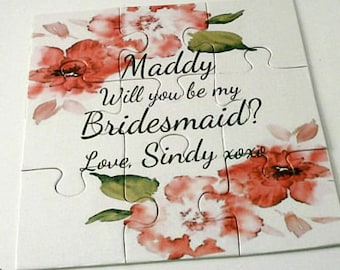 Watercolor card, Bridesmaid proposal card, Be our Flower Girl card, Will you be my bridesmaid, Maid of Honor Proposal, Flower girl Puzzle