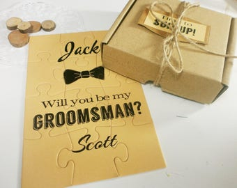 Be my Groomsman proposal card, Will you be my Best Man Card, Dude be my Groomsman invitation, Groomsman puzzle, Rustic invitation