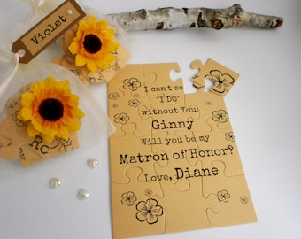Be my Matron of Honor, Rustic Bridesmaid Proposal Card, Will you be my Maid of Honor invitation, Puzzle proposal card
