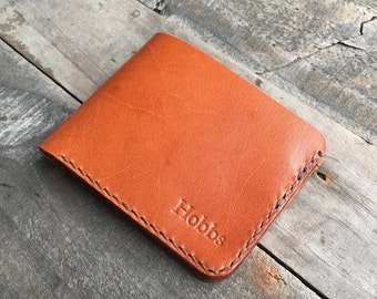 Personalised Kangaroo Leather Wallet with 4 Card Pockets, 1 Cash Pocket to suit US, Australian or similar sized currency