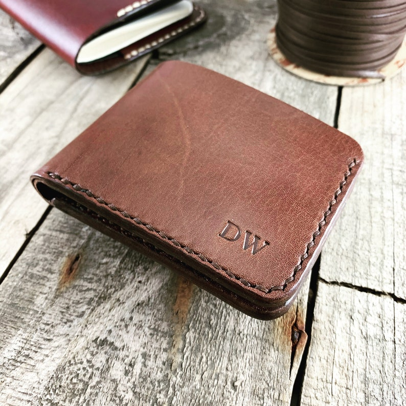 Personalised Brandy Kangaroo Leather Wallet with 4 Card image 0