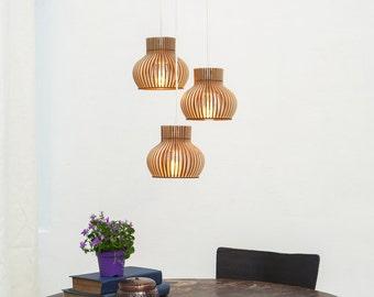 Trio de style scandinave foudre, ensemble de 3 lampes, lampes en bois, respectueux de l'environnement, ensemble de trois lampes en bois «Trio de Barcelone»