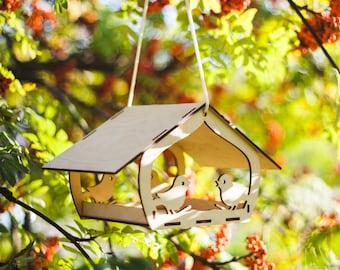 Bird feeder / wooden bird feeder / garden decoration / hanging bird feeder / large bird feeder / hand crafted / bird feeder / handmade