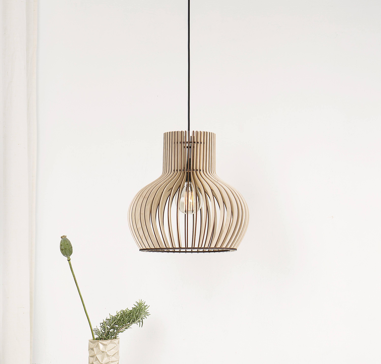 Holz Lampe Holzleiste Hängelampe / Oval Holz Lampe / Küche | Etsy