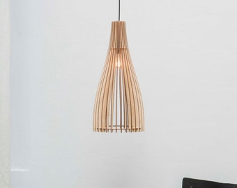 Scandinavian style ceiling lamp , wood light , wood hanging lamp , wood hanging light , lampshade , wood lampshade ,pendant light 'Venice M'