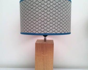 Grey Japanese wave pattern LAMPSHADE on white background