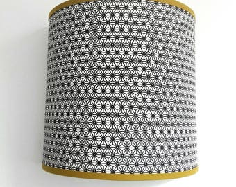 APPLIQUE wall pattern stars Japanese black on white background