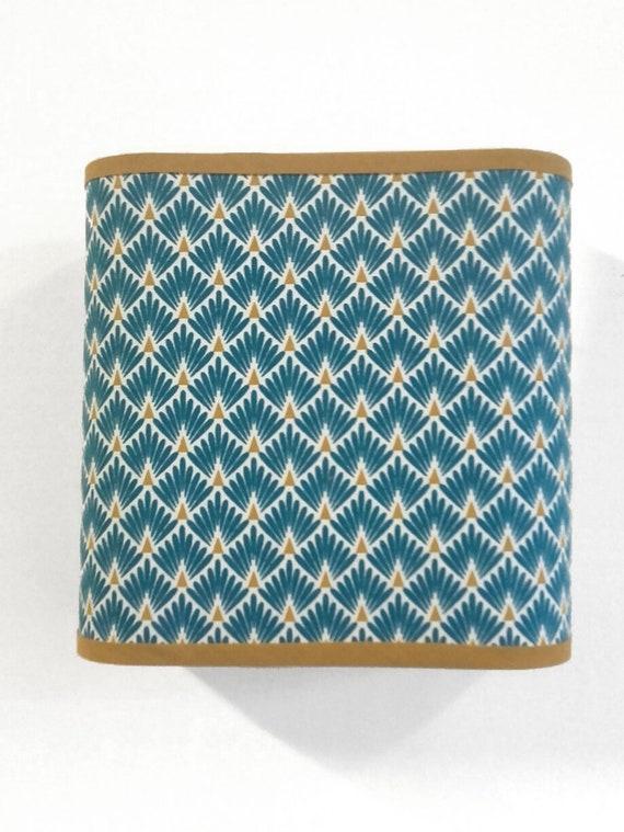 APPLIQUE MURALE CARREE motif art déco bleu canard et jaune moutarde