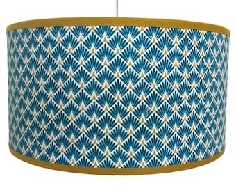 ABAT DAY pattern art deco blue palms duck and yellow