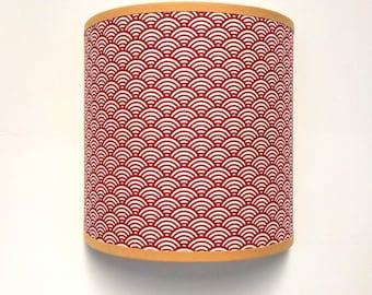 APPLIQUE wall red Japanese waves pattern