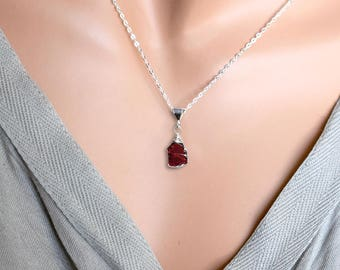 Raw Garnet Necklace, Raw Crystal Necklace, Raw Stone Necklace, Sterling Silver Red Rhodolite Garnet Pendant, January Birthstone Gift for Her