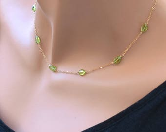 Peridot Necklace, Green Peridot Choker Necklace, August Birthstone Jewelry, Dainty Gold Choker, Sterling Silver Choker, Tiny Stone Necklace