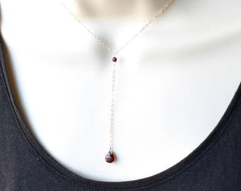 Garnet Necklace, Gold Silver Red Rhodolite Garnet Pendant Y Necklace, Gemstone Drop Necklace, January Birthstone, Stone Crystal Necklace