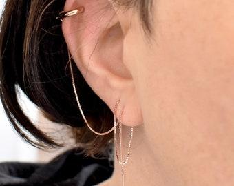 d29c92878 Helix Hoop Huggie Chain Earring Multiple Piercing Threader Earring Sterling  Silver Rose Gold Cartilage Hex Long Upper Ear Lobe Earring