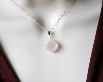 Rose Quartz Necklace Sterling Silver Gold Rough Cut Rose Quartz Pendant, Minimal Dainty Pink Raw Stone Necklace, Mother's Day Gift