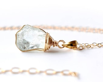 Raw Aquamarine Necklace, Gold Aquamarine Pendant Necklace, Raw Crystal Necklace, Wire Wrapped Raw Stone Necklace, March Birthstone Jewelry