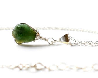 Raw Emerald Necklace, Sterling Silver Genuine Emerald Pendant, Green Raw Crystal Necklace, Wire Wrapped Raw Stone Necklace, May Birthstone