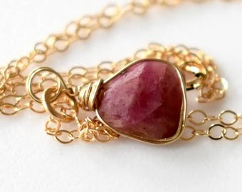 Raw Ruby Necklace Gold, July Birthstone Necklace, Mother Gift, Genuine Natural Raw Ruby Pendant, Raw Crystal Necklace, Raw Stone Necklace