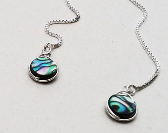 Abalone Earrings Sterling Silver, Bridesmaid Jewelry, Sterling Silver Dangle Earrings, Paua Ear Thread Earrings, Long Ear Chain Earrings