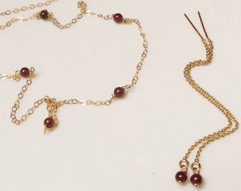 Garnet Necklace, Garnet Gold Threader Earrings, Gold Choker Necklace, Stone Necklace, Thread Earrings, January Birthstone Garnet Jewelry Set