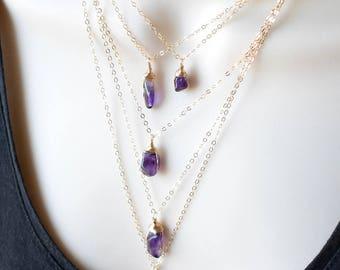 Raw Amethyst Necklace, February Birthstone Jewelry Gift, Gold Purple Amethyst Pendant, Raw Crystal Necklace, Wire Wrapped Stone Necklace
