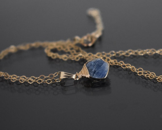 Blue Sapphire Pendant Raw Stone September Birthstone Necklace Mother/'s Day Gift Raw Sapphire Necklace 14k Gold Filled