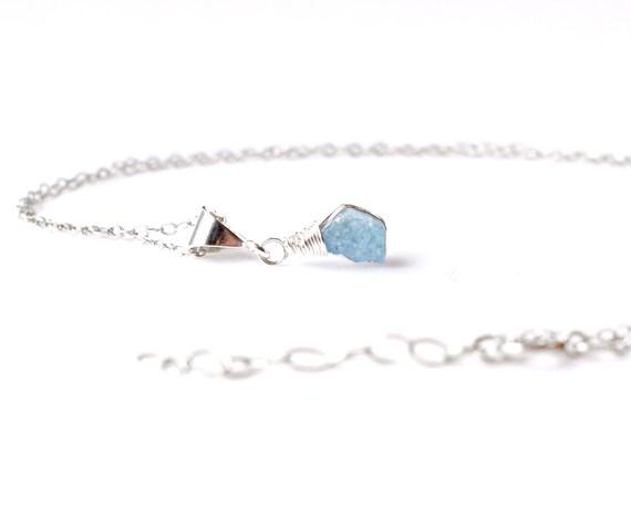 raw aquamarine necklace blue aquamarine pendant march