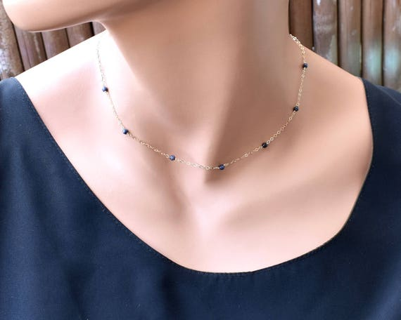 Genuine Sapphire Chocker Sterling Silver gold Beaded and chain 14k Gold Filled Dainty Necklace perfect woman gift Birthstone Necklace