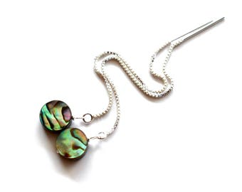 Abalone Earrings, Sterling Silver Ear Thread Earrings with Abalone Shell Coins, Paua Earrings, Gift for Friend, Chain Earrings Abalone Shell