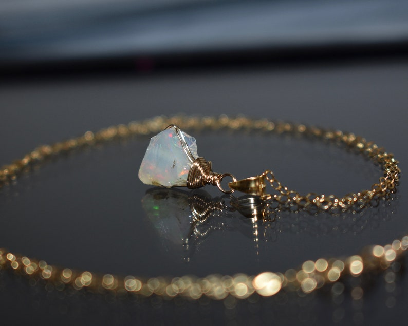 Wire Wrap Raw Crystal Necklace Raw Opal Necklace 14k Gold Filled October Birthstone Opal Jewelry Raw Stone Necklace Fire Opal Pendant