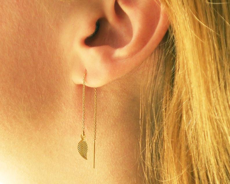 29918a2b6adaf Gold Leaf Earrings, Gold Threader Earrings, Silver Leaves Ear Thread  Earrings, Tiny Leaves Dangle Earrings Long Gold Earrings Chain Earrings