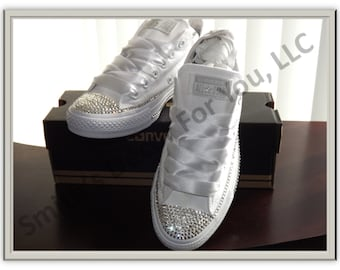 eed7fee74aa Wedding  Homecoming  Prom Low tops bling converse